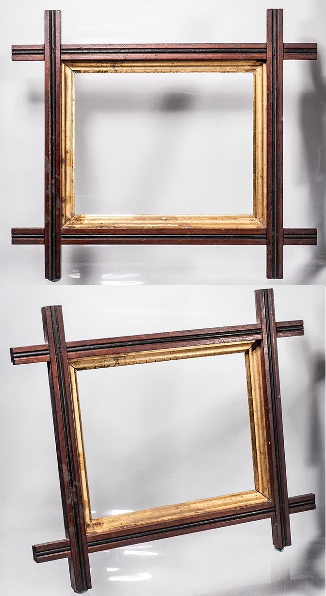 Frame museum page 6b nice two toned walnut with a gilded liner from the 1870s 14 x 16 od 7 x 9 18 picture size 14 309 jeuxipadfo Images