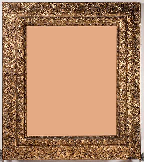 an 1890s victorian frame with gilded oak leaves it has a few corner nicks it is 21 x 24 od with a 14 x 17 inch picture size 15 375