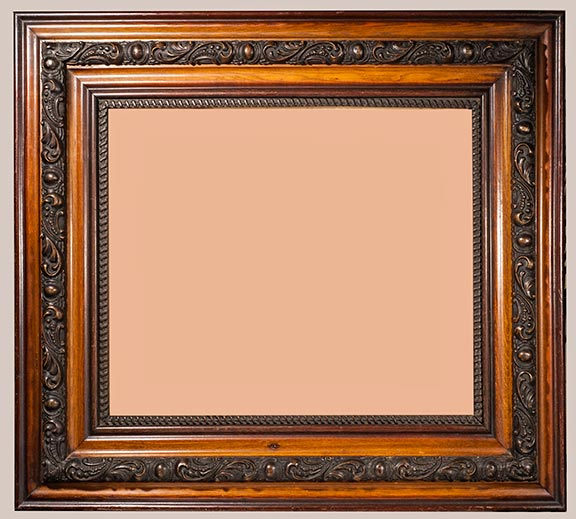 better to best an attractive larger oak frame wbrown raised gesso work in center area it is from the 1890s it is 28 12 x 32 12 od