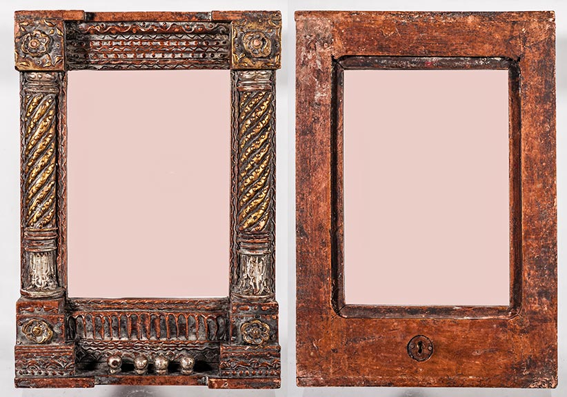 wooden handcrafted picture frame with a very ancient look finish it is more recent handcrafted piece it is 11 x 16 inches od and has an 8 x 11 inches