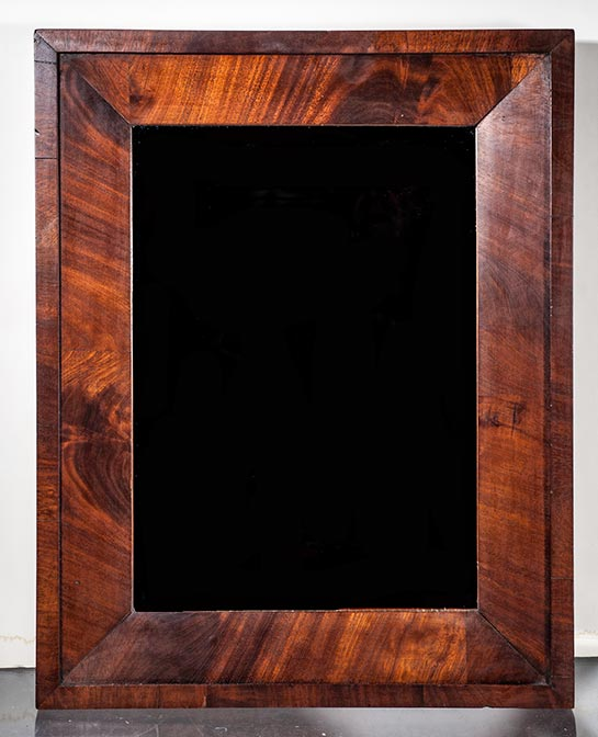 1850 frame with flat panels of mahogany with a mirror it is 15 x 19 inches od and has a 10 x 14 12 inches pic size item 15 404 14000